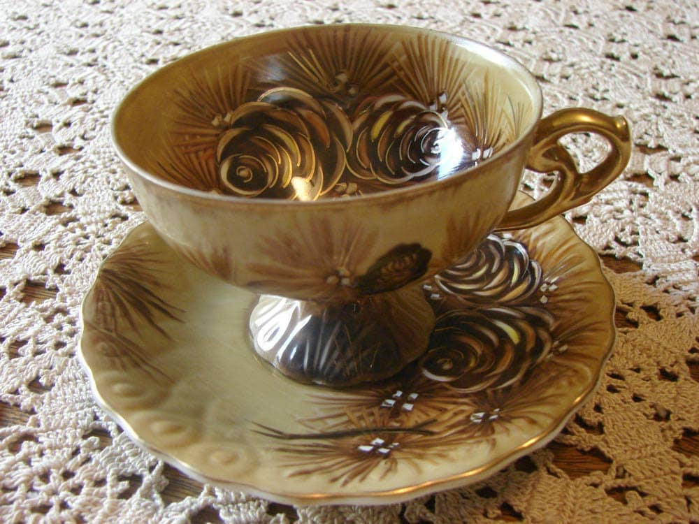 Fall Pine Cone Teacup and Saucer - PEAKaBooVintage