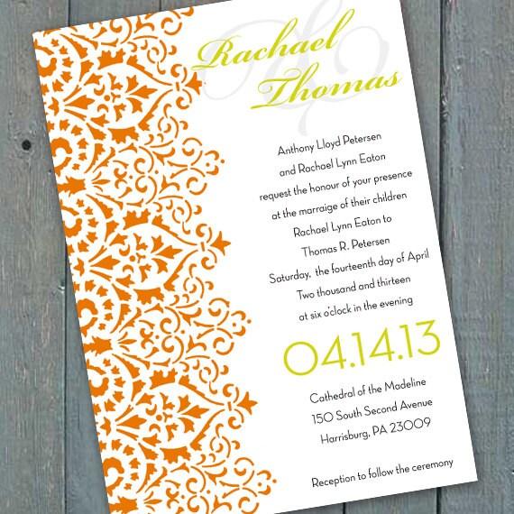 ... border, tangerine and lime invitation, damask bridal shower, IN164