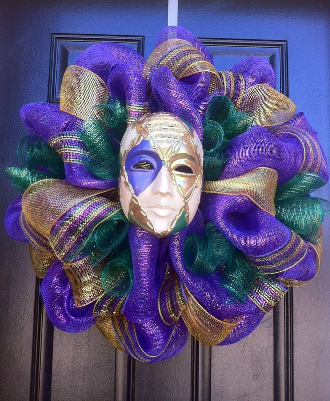 Masked Mardi Gras Wreath - Deco Mesh Mardi Gras Wreath - Harlequin Mardi Gras Wreath - CreationsbySaraJane