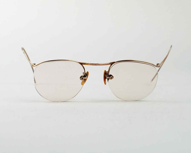 Vintage Wire Rim Eye Glasses 12K Gold by independencevintage