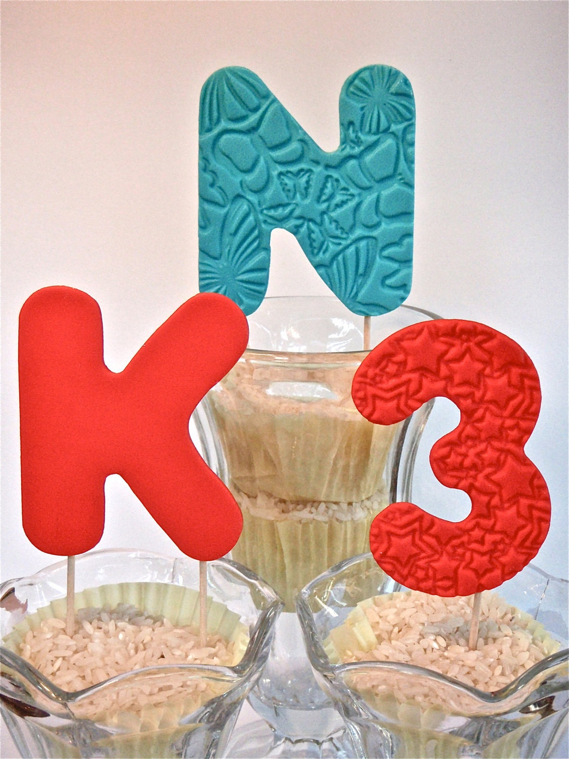 Edible Cake Decoration Numbers : Edible Fondant Number or Letter on a stick by ...