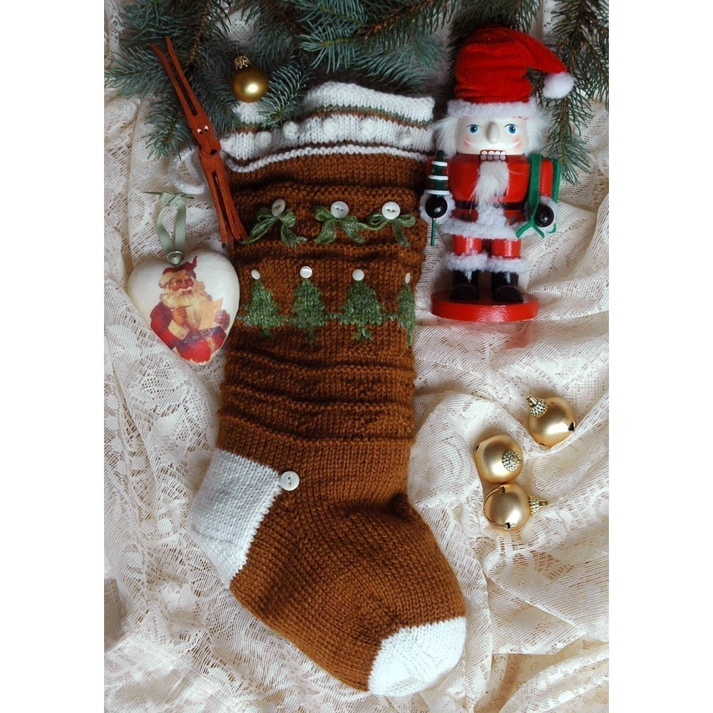 Easy Stocking Knitting Pattern : Ginger Snap Hand Knit Christmas Stocking Knitting by ILiveonaFarm