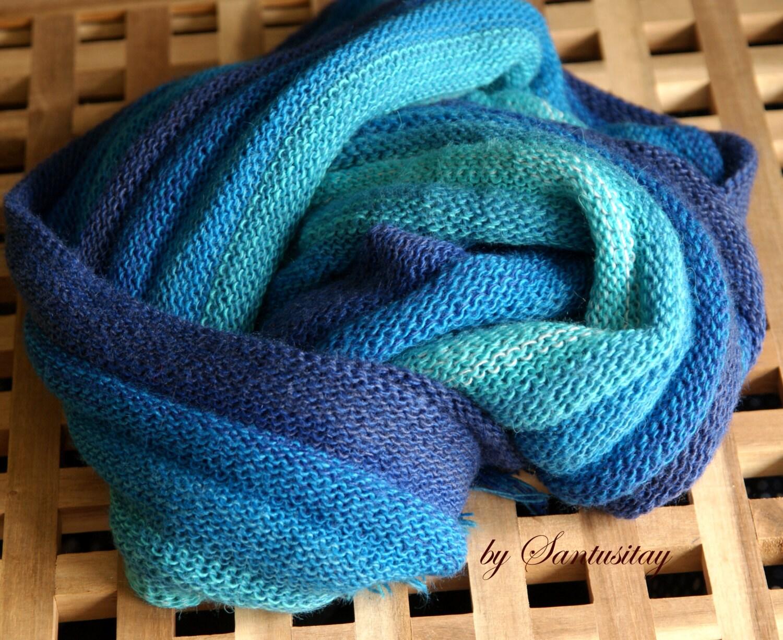 Warm set shawl scarf wrap cowl collar and band  Alpaca wool  christmas gift shadows of blue navy turquoise indigo purple lily