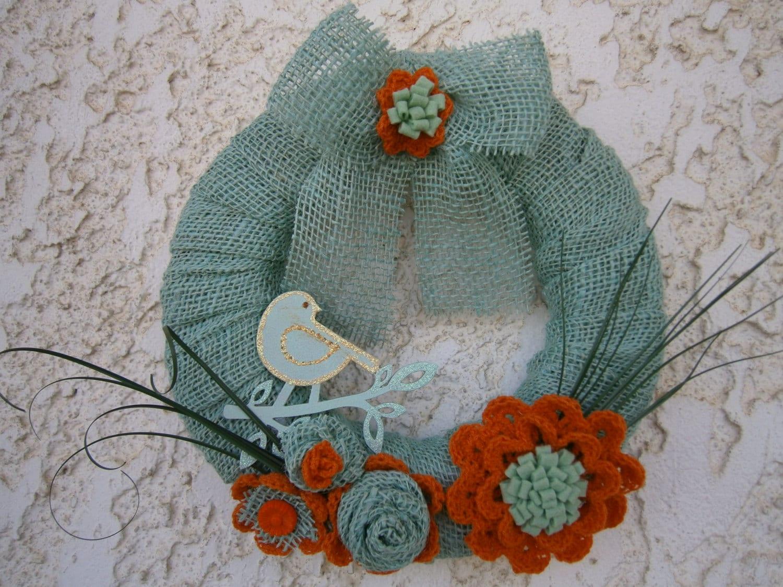 winter wreath, burlap rustic wreath, shabby chic wreath, burlap wreath,  cottage chic decor, crochet flower motifs - year round wreath, - creationmoodmarias