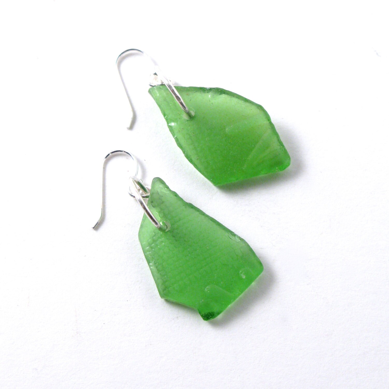 Embossed Kelly Green Sea Glass Earrings on Sterling Silver Ear Wires