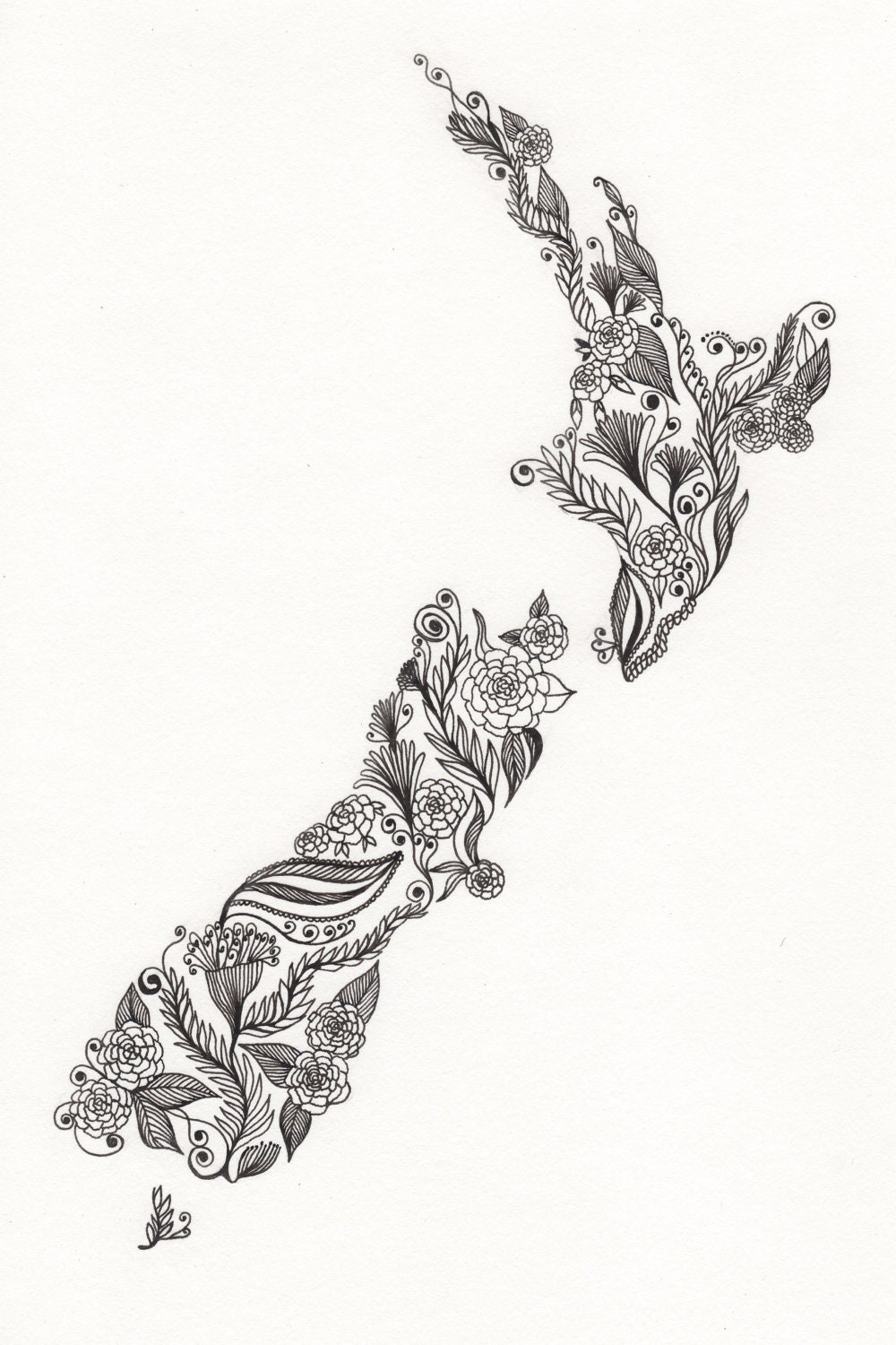 Line Drawing New Zealand Map : New zealand patterned art print by artbythelittleleaf