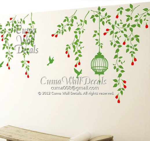 green tree wall decals branch wall decal vinyl vine by cuma floral vine wall sticker wall stickers