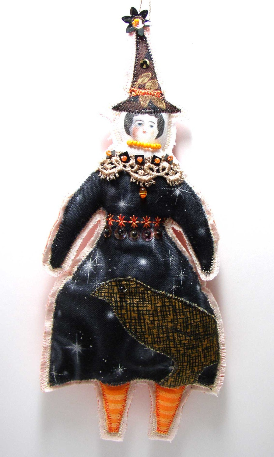 Witch Doll Ornament Textile Art Cloth Doll  Halloween Ornament  Lady Doll OOAK Witch with a Bird - theresahutnick