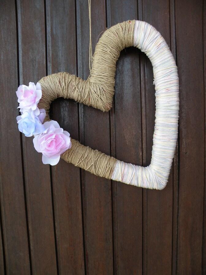 Toile de jute fête guirlande guirlande Valentine Valentines Couronne jour décor