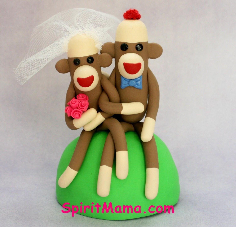 sock monkey wedding cake topper sitting 4 inch by spiritmama