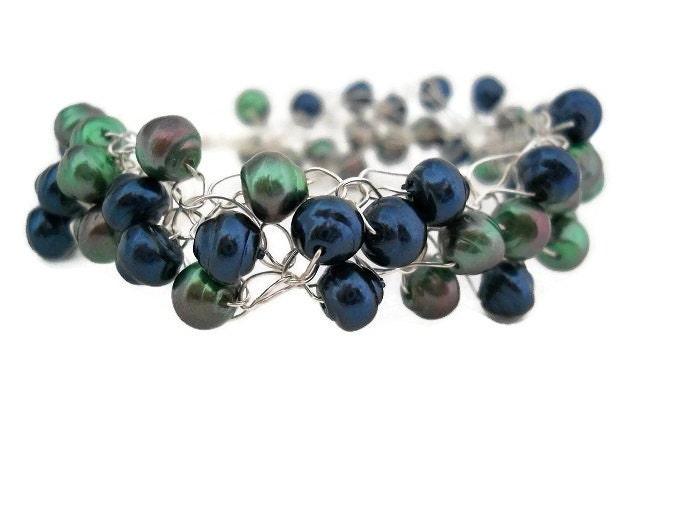 Blue Mint Green Silver Crochet Pearl Bracelet - Caribbean Water - JustAspire
