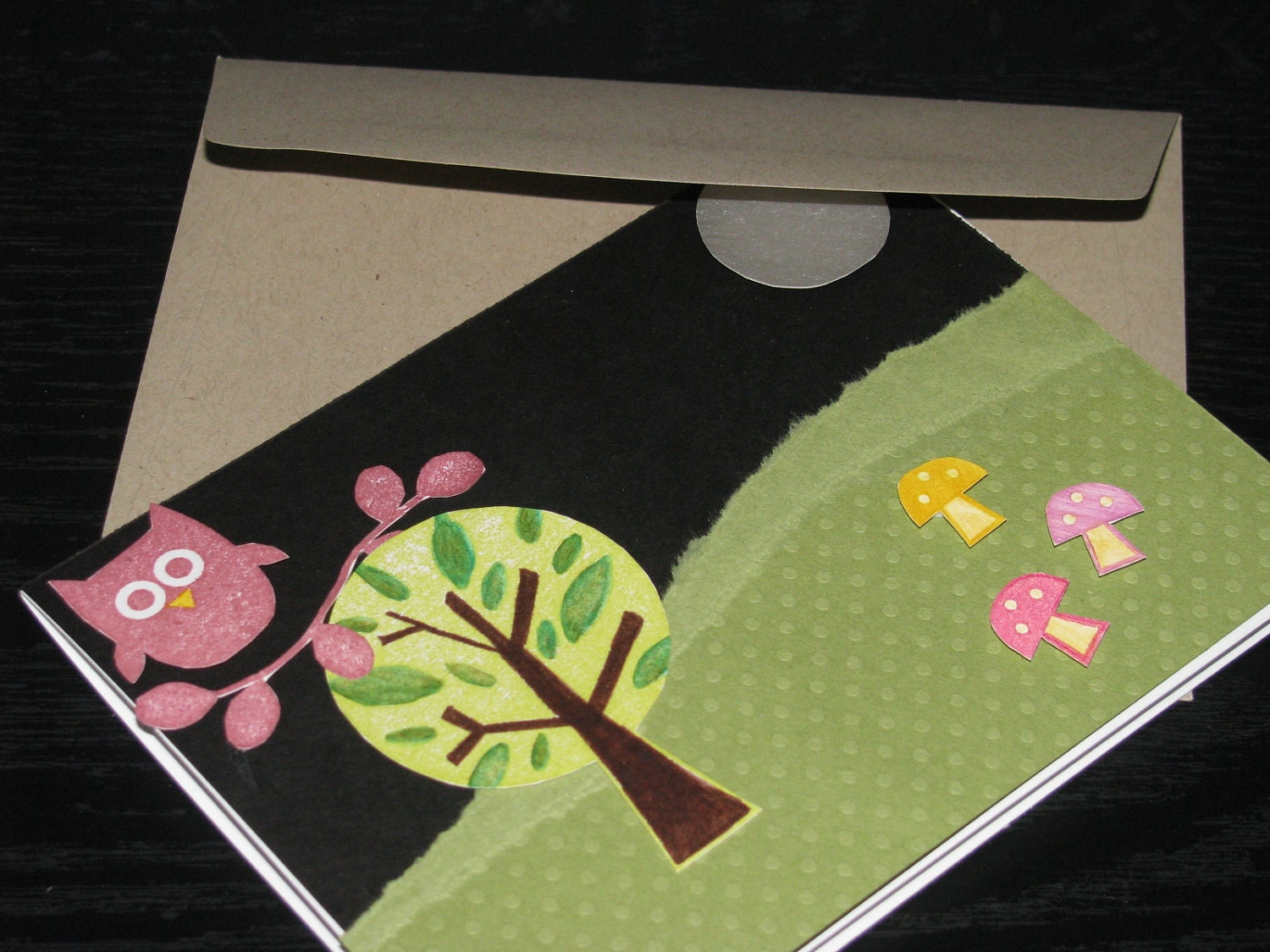 Blank Greeting Card - Forest Friends at Night with Owl and Mushrooms