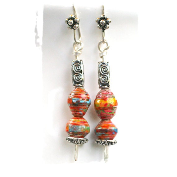 dangle stick earrings, beautiful paper beads, pewter beads