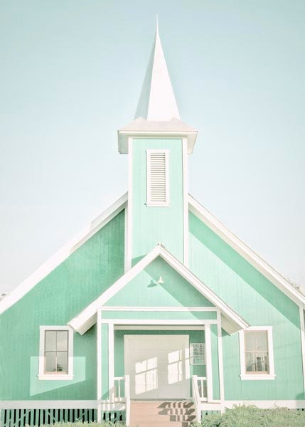 Mint Wall Decor-Church Photograph, Aquamarine, Seafoam, White, Spring, Fresh, Pastel Art, Architecture photography, 5x7 - BreeMadden