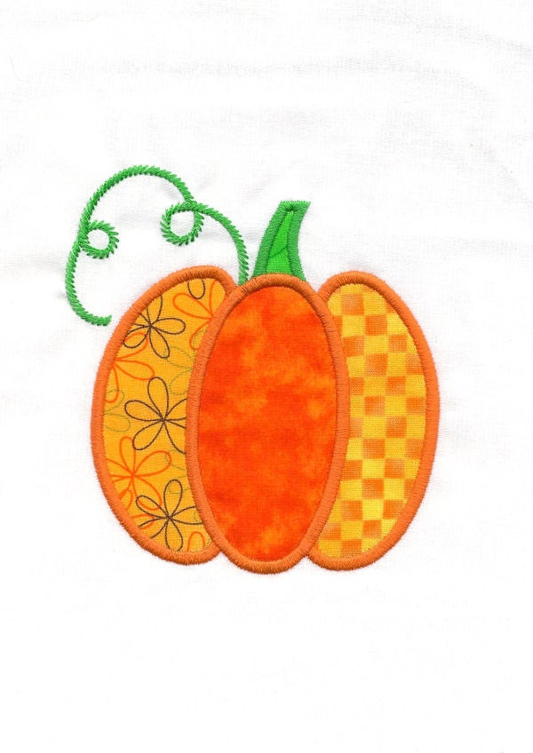 Pumpkin machine applique embroidery design by