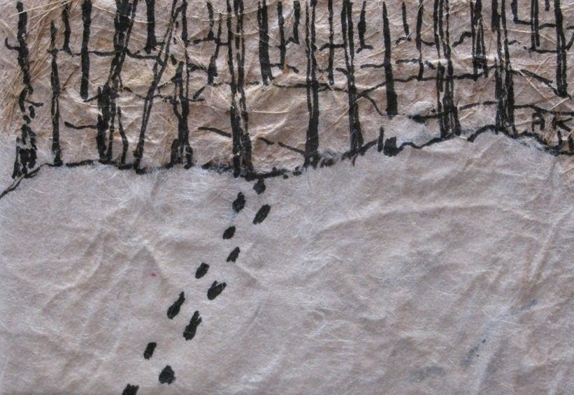 Miniature pen and ink drawing: footprints in the snow - AKandKO