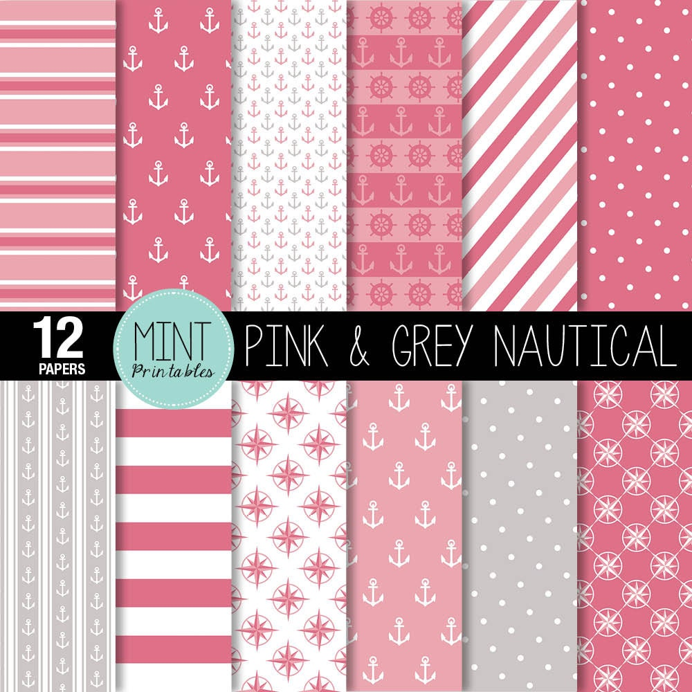 Navy and pink anchor background