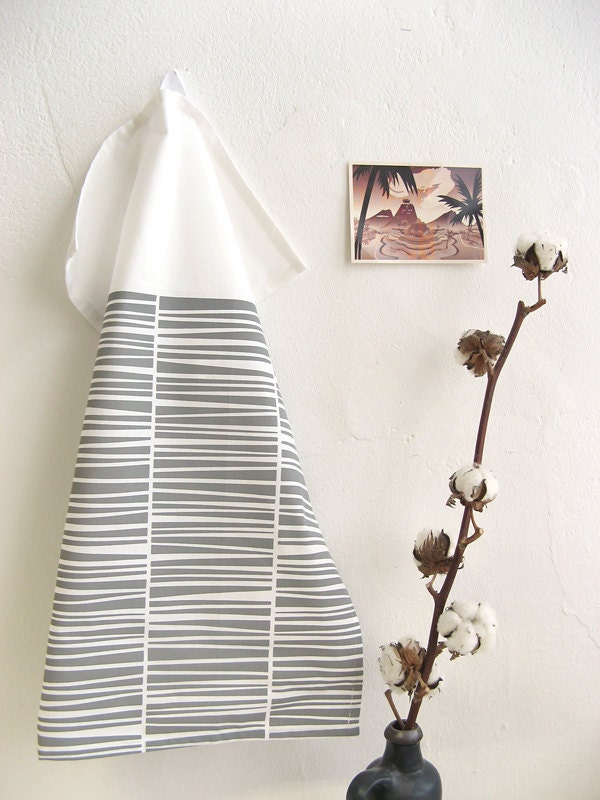 Grey Tea Towel Organic Cotton Handprinted - laKattun