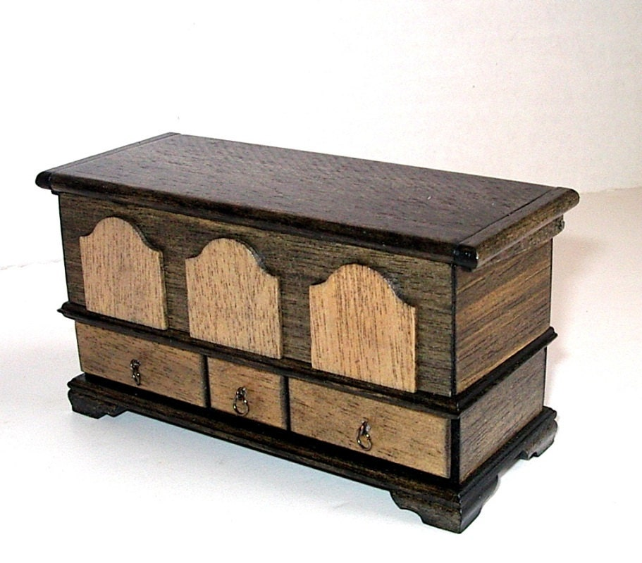 Rustic Blanket Chest Dollhouse Miniature 1/12 By CalicoJewels