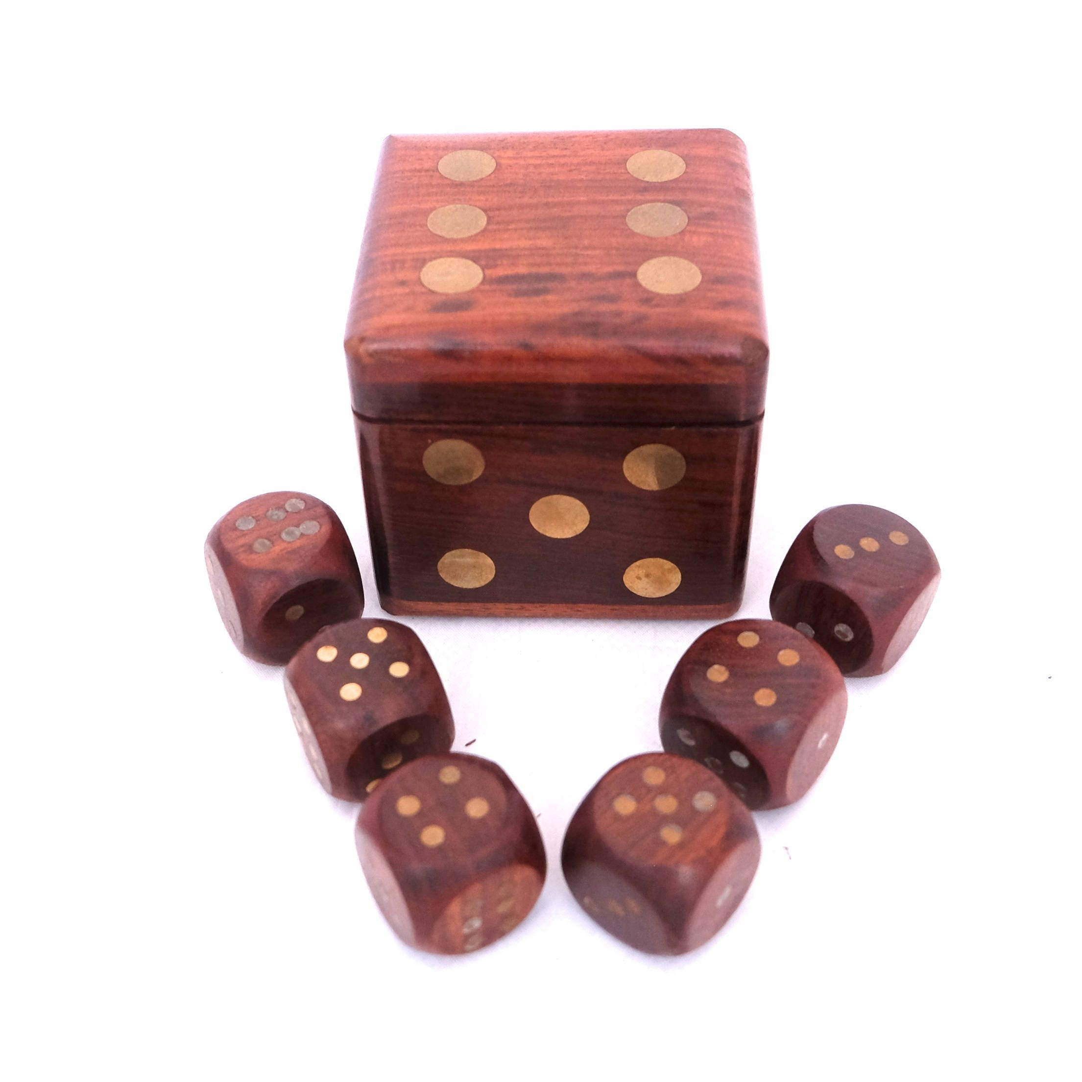 Wooden Dice Box Set Of Wooden  Brass Dice Games Dice Vintage Dice Box Casino Games Box Games Box Indian Wooden Box Brass Inlaid Box