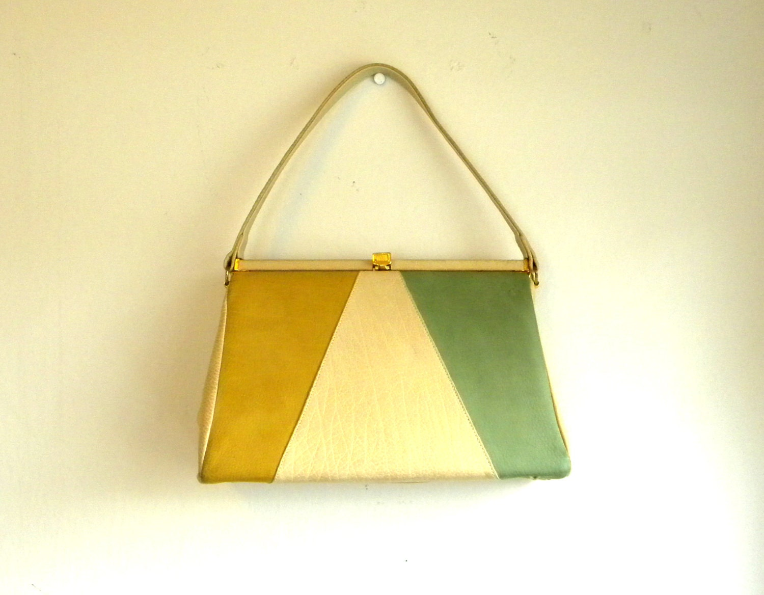 60s color block leather purse pocketbook by