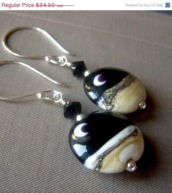 On Sale Crescent Moon Lampwork Earrings on Sterling Silver . SRA Black Glass Artistan Lentil Dangle . Desert Moon - beadstylin