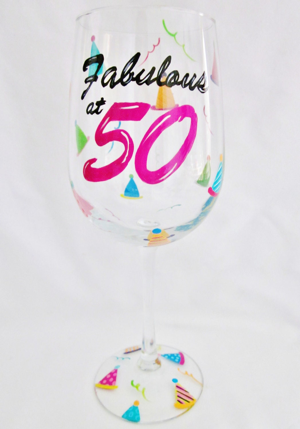 Hand painted 50th birthday wine glass by mimossa by mimossastudio