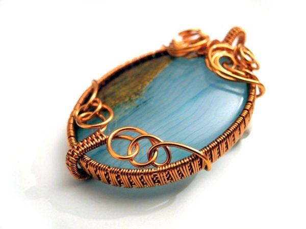 Wire wrapped Copper pendant with natural Jasper, round, oval, woven, teal turqouise and french roast - NurrgulaJewellery