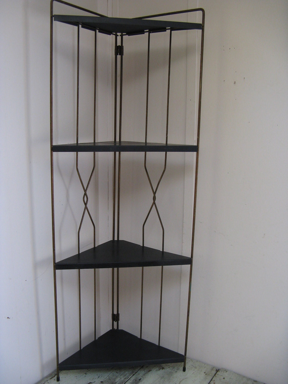 mid century metal corner shelf free standing 4 by. Black Bedroom Furniture Sets. Home Design Ideas