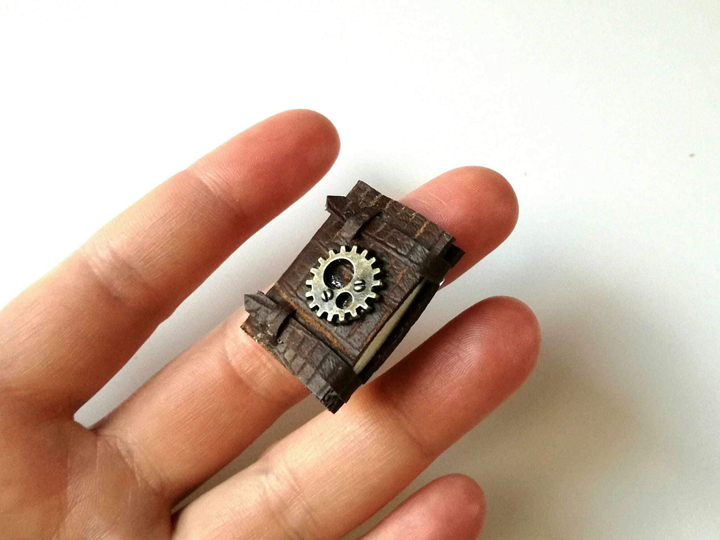 steampunk brooch playscale steampunk notebook tiny journal one sixth scale steampunk pin mini leather book steampunk favor tiny book