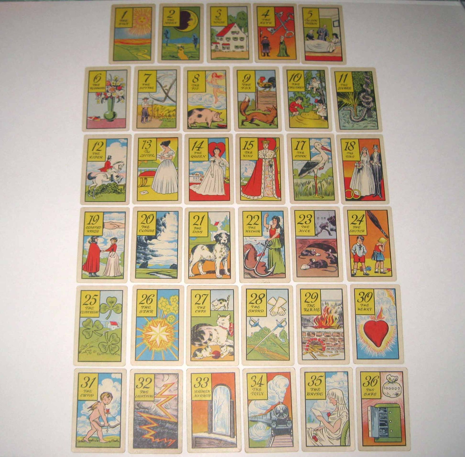 Vintage 1940s Old Gypsy Fortune Telling Cards by ...