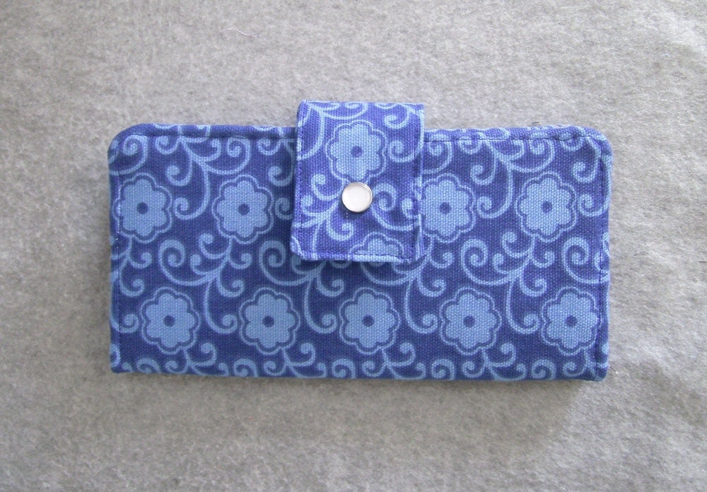 Fabric Wallet - Blue Floral Canvas - BonniesSewCrazy