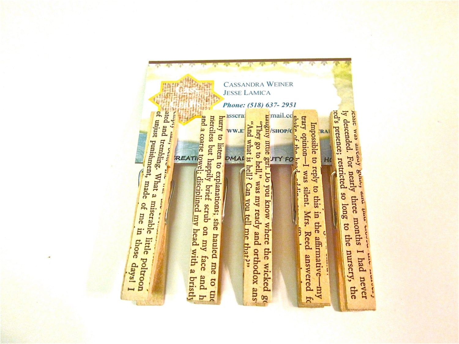 Jane Eyre Vintage Book Page Decorative Clothespins Set of Five Bag Clips - CasstheCrafter