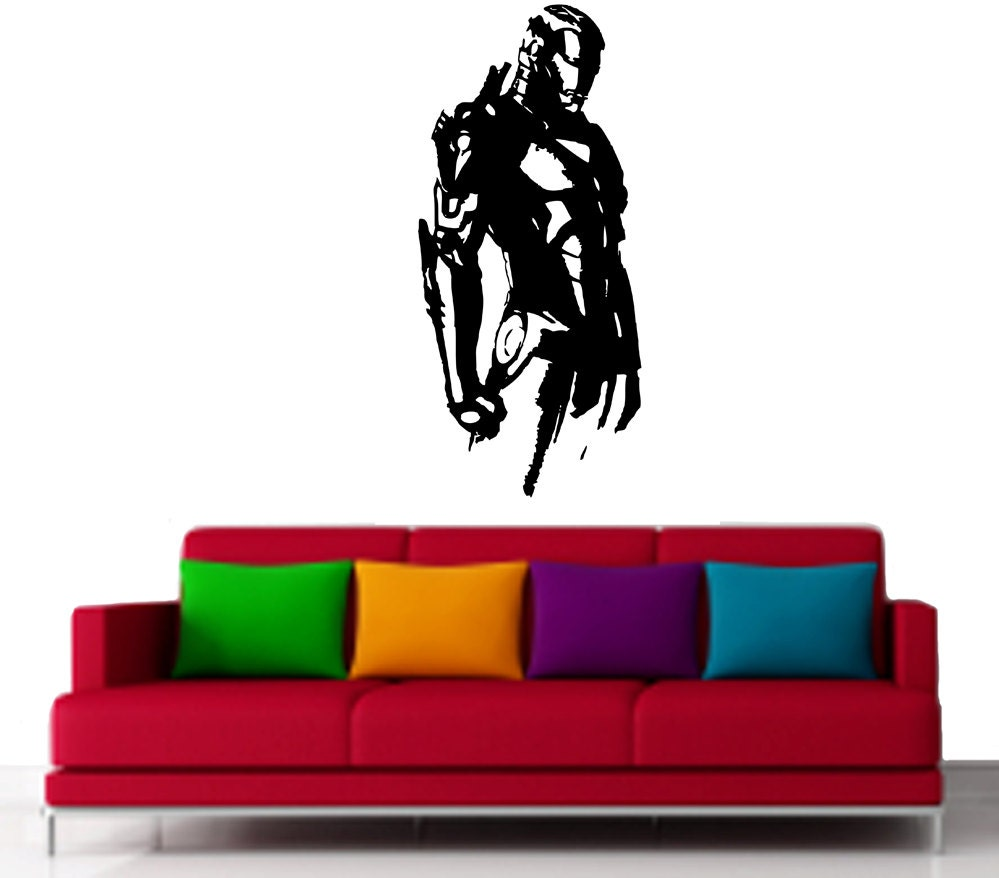 Iron Man Half Body Super Hero Vinyl Decor Wall Art By