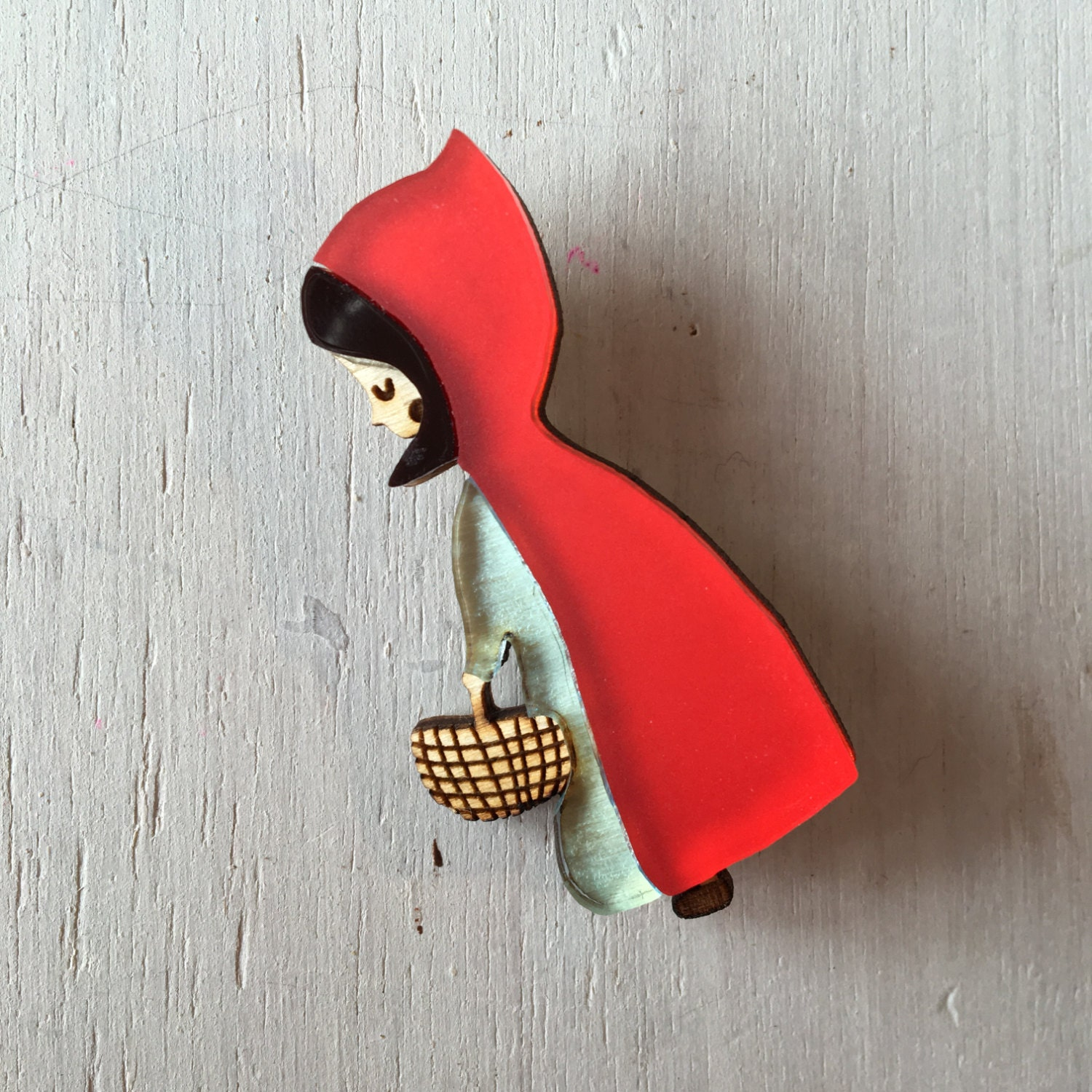 Red Riding Hood Brooch  Red Riding Hood Pin  Fairytales  Fairytale Pin  Laser Cut Jewelry