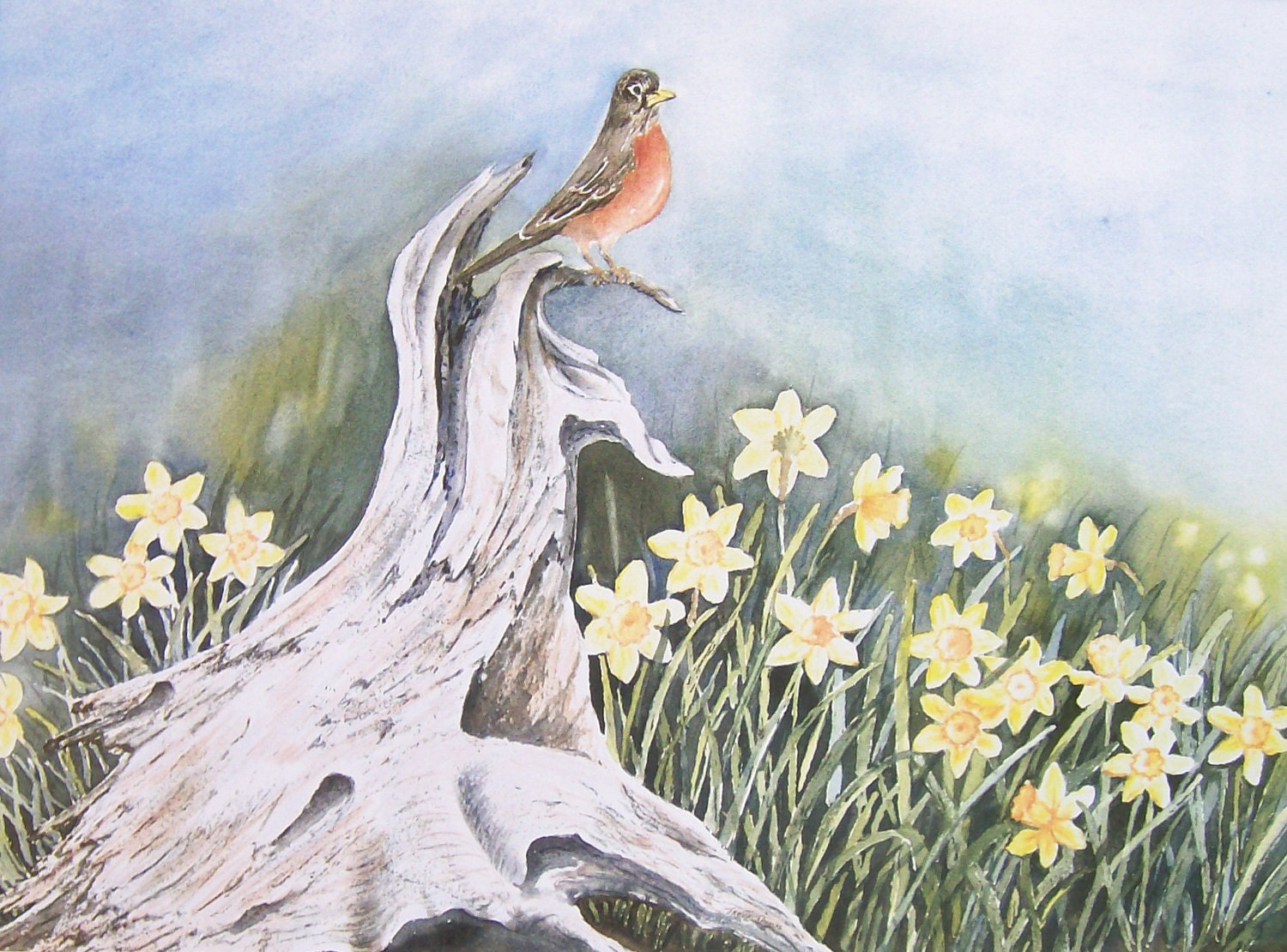Signs of Spring Watercolor Print - 2birdstudio