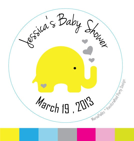 baby shower stickers baby elephant personalized baby shower printed