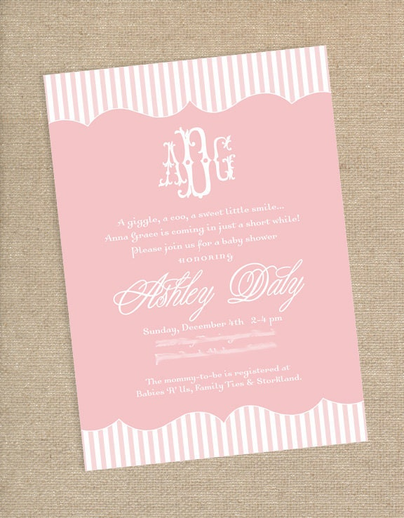 monogram baby shower invitation by papernplay on etsy