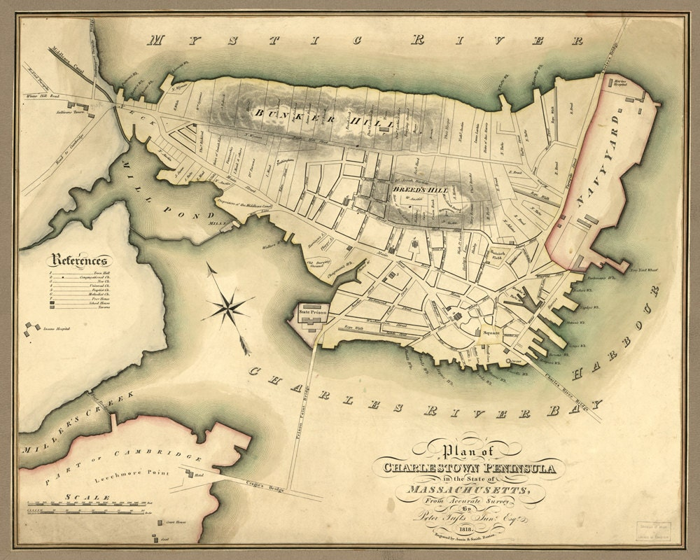 1818 Map Of Charlestown Massachusetts By AtomicPhoto On Etsy