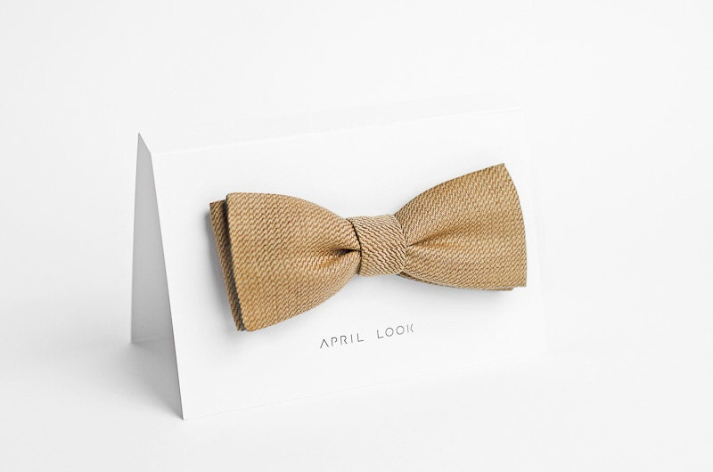 Gold bow tie for men - double sided - APRILLOOKshop