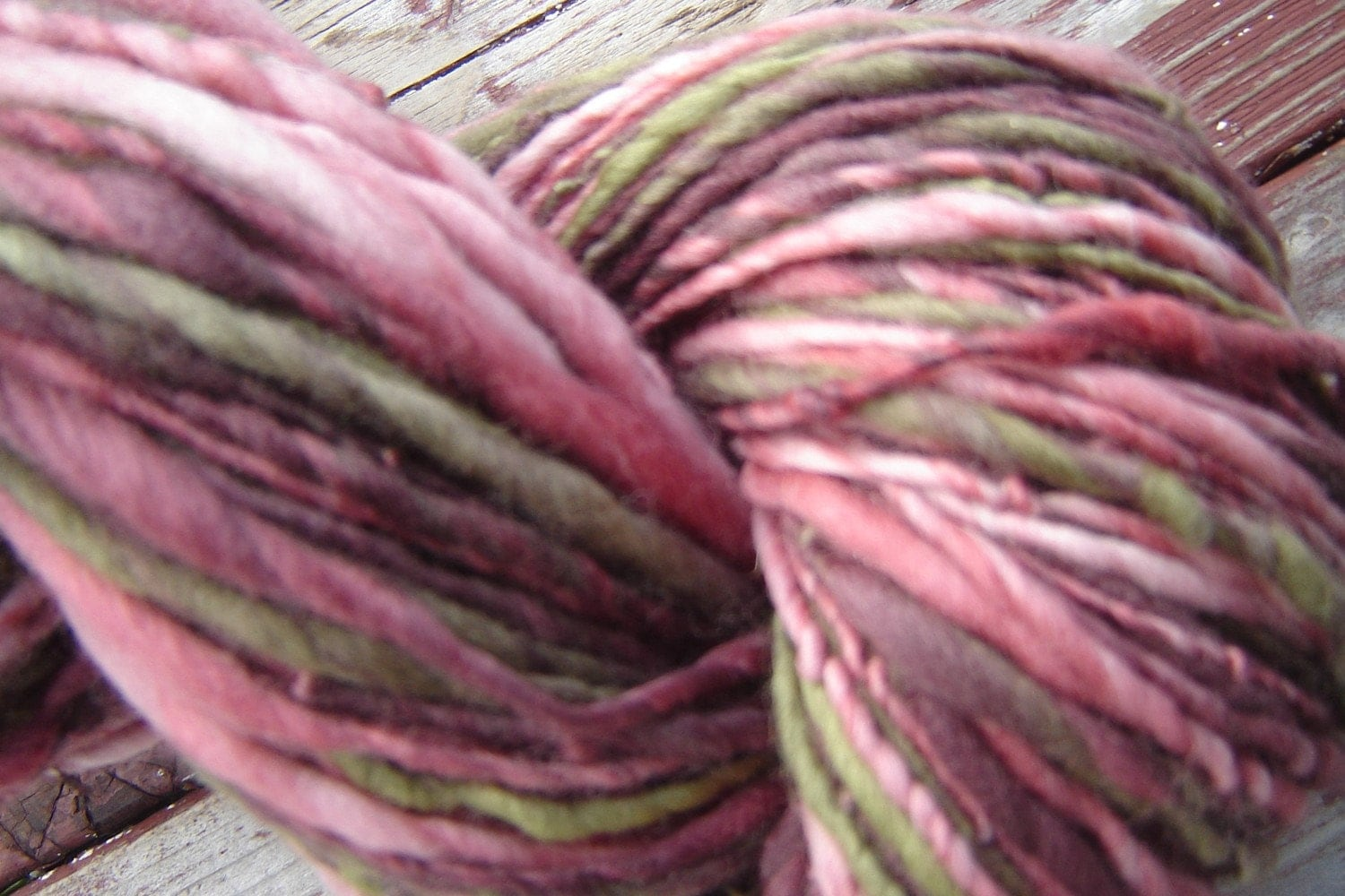 Handspun Merino worsted weight singles Yarn - Desert Rose - theKnitChix