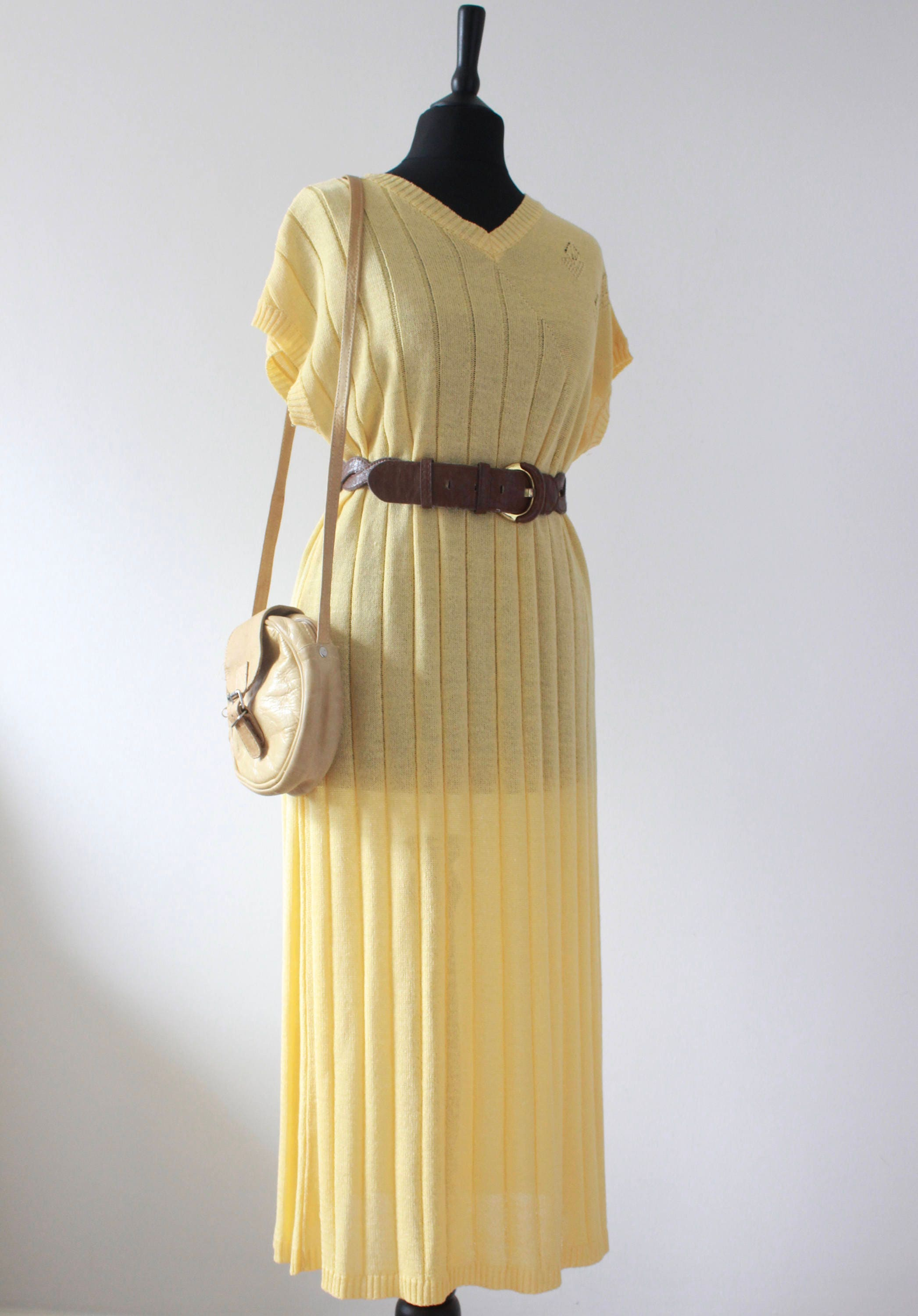 70s Vintage Knitted Dress Lemon Yellow VINTAGE 1970S 80S Dress Casual Midi Day Dress Batwing Knitted Dress UK M Medium