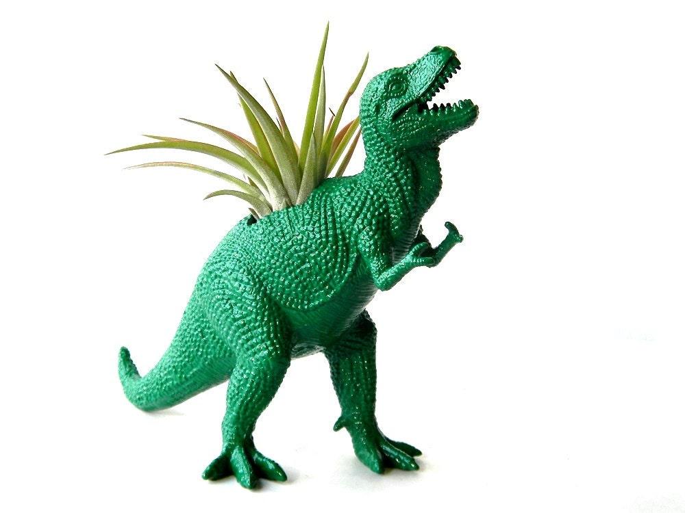 Green Dinosaur Planter Upcycled True Green T Rex Planter