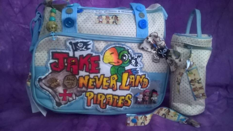 Disney Jake and the Neverland Pirates Inspired Baby Diaper Changing Bag Plus Dummy Pacifier Clip
