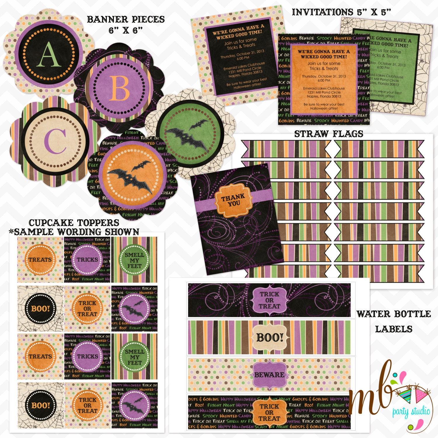 "Printable ""Wicked Good"" Halloween Party Kit with Banner - FiddleSticksBoutique"