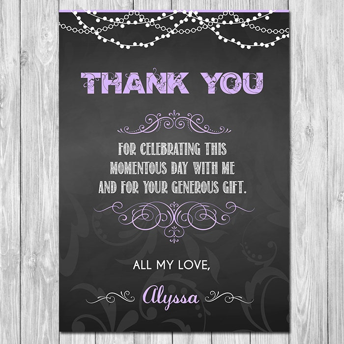 Items Similar To Chalkboard Thank You Card Chalkboard Thank You Card Unique Thank You Card