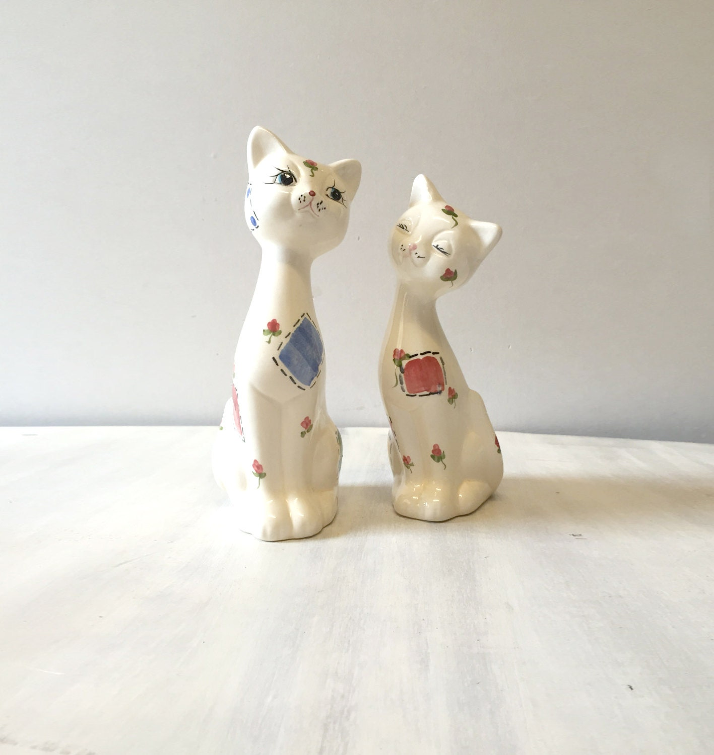 Vintage china cat figurines white china cat vintage cat porcelain cat. china cat statue retro cat figurine cat lover cat ornament
