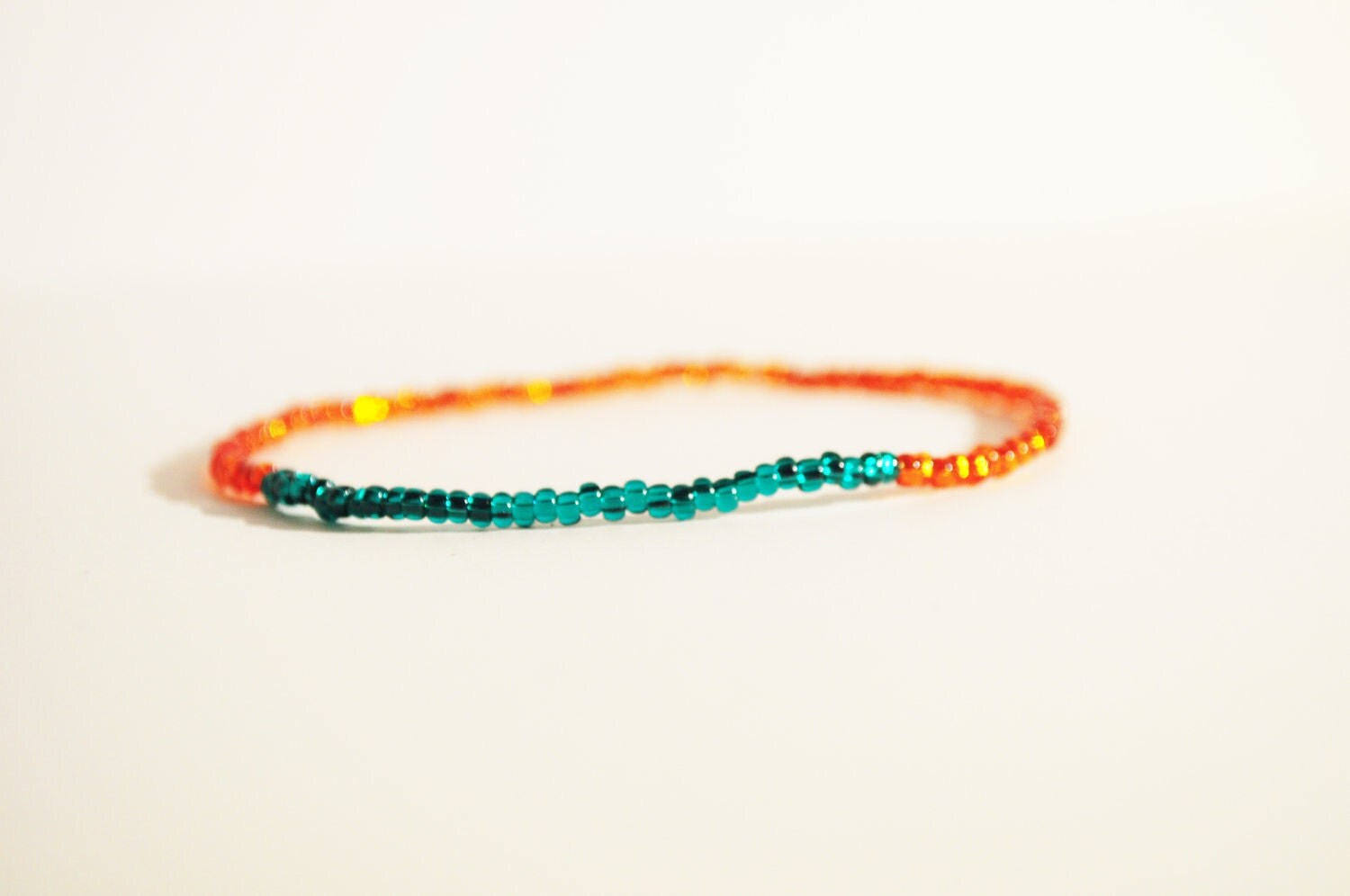 STACKING BRACELET - Vibrant Tangerine Orange and Teal Glam Seed Beads - ThePrettyDoGood