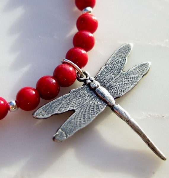 Red Coral Gemstone Necklace, Sterling Silver Necklace - 'Red Flame Dragonfly' Necklace, Woodland Creatures - Handmade