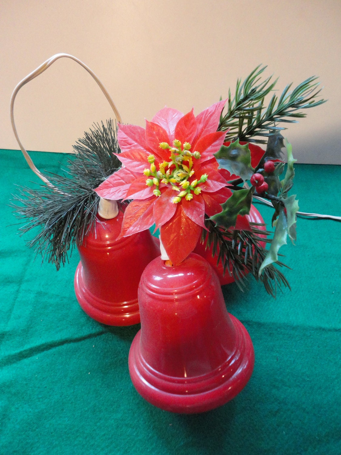 Vintage Trio Red Light Up Christmas Bells With By